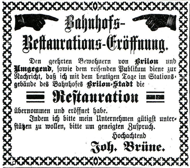 E04 Bahnhof, Anzeige Restauration, J.Brüne,1899_800