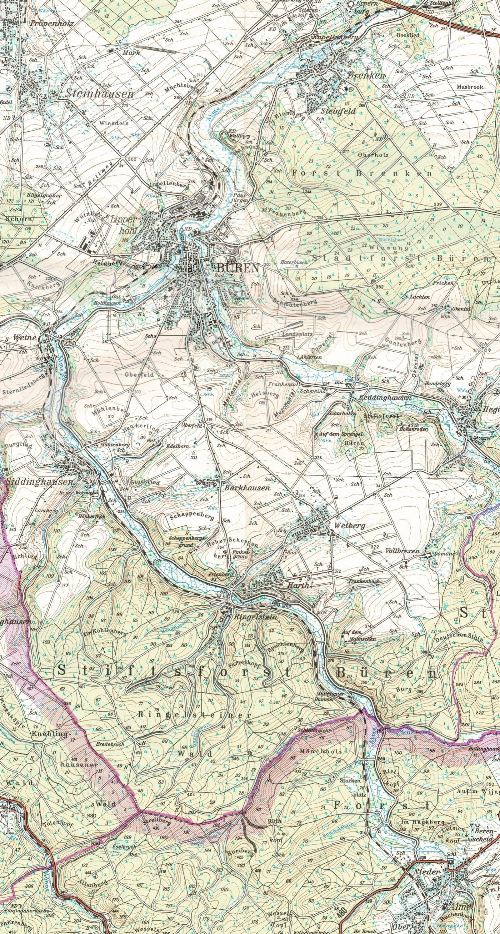 Karte Alme_Büren_1600