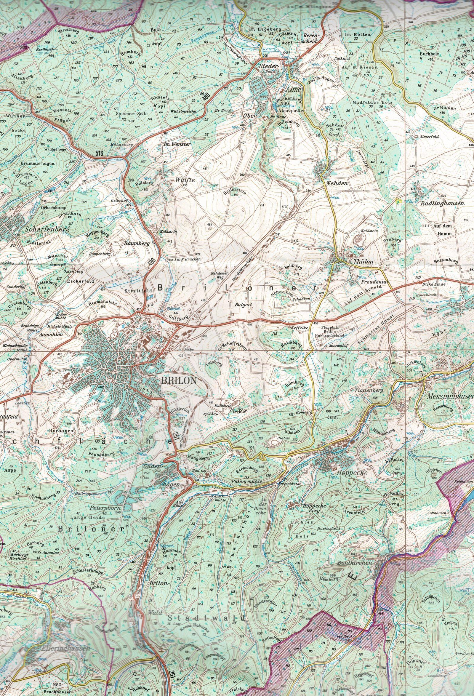 Karte Alme_BrilonWald_1600